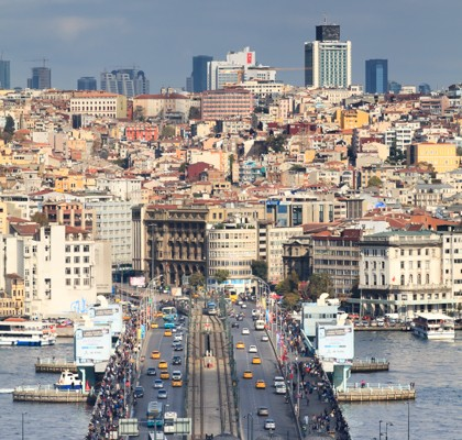 The Galata Bridge (Turkish: Galata Köprüsü) is a bridge that spans the Golden Horn in Istanbul,
