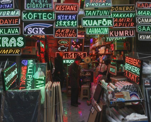 A local sign maker shop in Eminönü district of old city Istanbul.